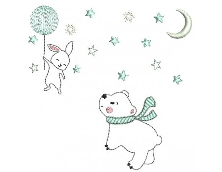 Instant download machine embroidery rabbit and bear  on a cloud