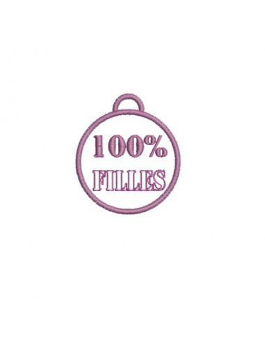 Motif de broderie médaille 100%  filles