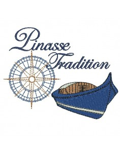 Motif de broderie machine  pinasse tradition