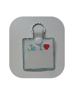 machine embroidery design  I love you customizable keychains ith