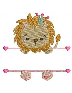 Instant download machine embroidery  lion to customize for girl
