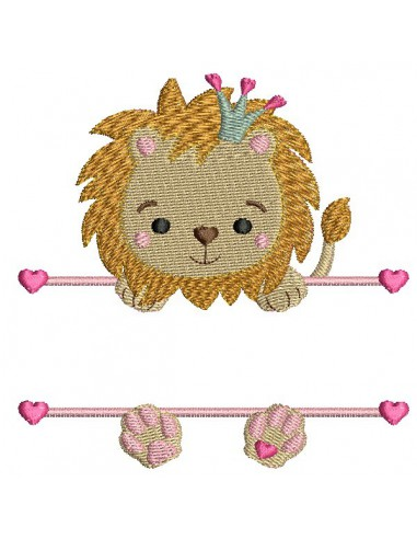 Motif de broderie machine  lion prénom fille