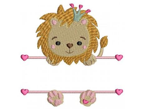 Motif de broderie machine  lion prénom fille