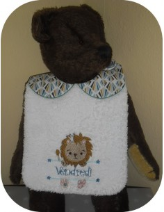Instant downloads machine embroidery design machine  ITH  bib customizable  lion for boy