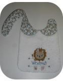 Instant downloads machine embroidery design machine  ITH  bib customizable  lion for girl