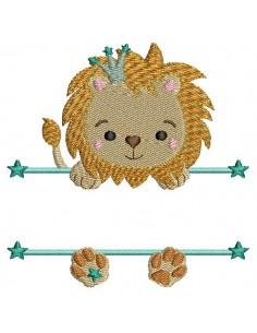 Motif de broderie machine  lion prénom garçon