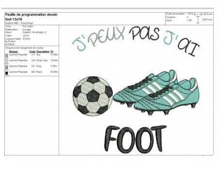 Instant download machine embroidery design I can't football