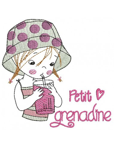 Instant download machine embroidery design  little girl doing the cooking