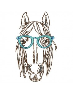 Motif de broderie machine cheval avec lunettes