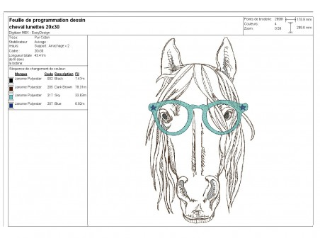Instant download machine embroidery  unicorn with his glasses and mylar horn