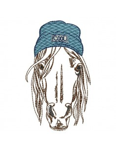 Instant download machine embroidery  horse  with his cap