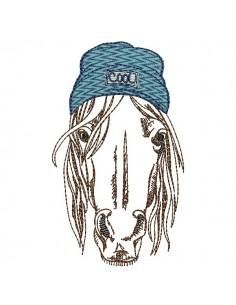 Motif de broderie machine cheval avec bonnet