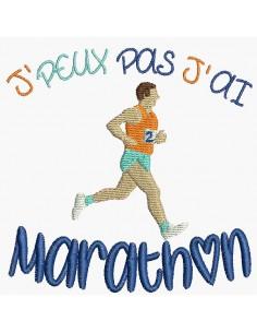 Motif de broderie machine j'peux pas j'ai  marathon
