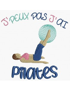 Instant download machine embroidery design I can't pilates
