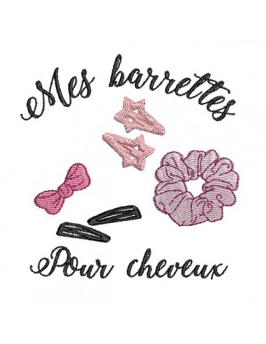 Instant download machine embroidery design ith  hair barrets basket