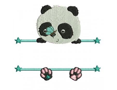 Motif de broderie machine  panda prénom garçon