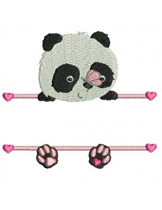 Instant download machine embroidery  panda to customize for girl