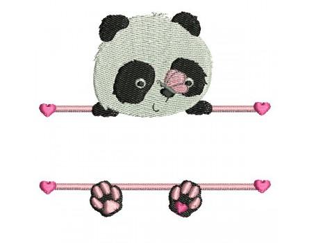 Motif de broderie machine  panda prénom fille
