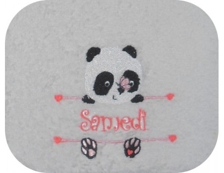 Instant download machine embroidery  panda to customize for boy