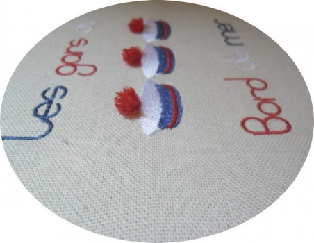 Instant download machine embroidery design sailor beret with 3D pompom
