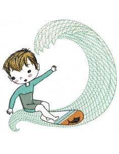 Motif de broderie machine garçon  surfeur