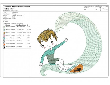 Embroidery design boy and toy dinosaur