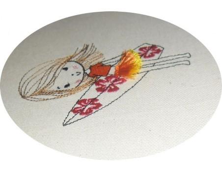 Motif de broderie machine fille  surfeuse