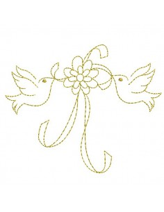 Motif de broderie machine  oiseaux au bouquet de fleurs