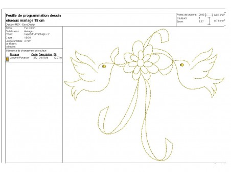 Instant download machine embroidery Doves with wedding rings