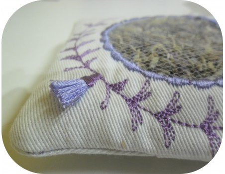 Instant download machine embroidery design ITH square lavender bag