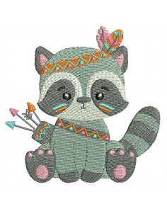 Instant download machine embroidery design indian raccoon