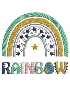 Motif de broderie machine arc en ciel Rainbow