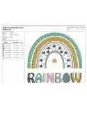Machine  Embroidery design Rainbow boho