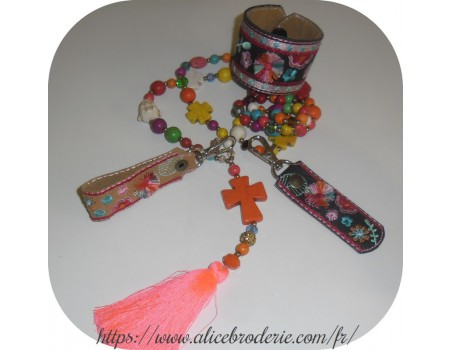 Instant download machine embroidery ith long keychain with pompoms