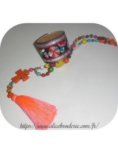 Motif de broderie machine ITH bracelet  bohème pompon rond