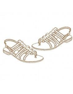 Motif de broderie machine sandales en redwork