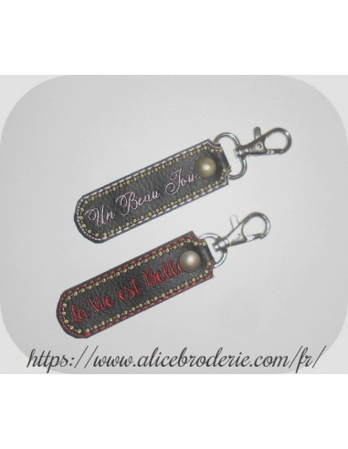 Instant download machine embroidery ith  keychain with round pompom 3D