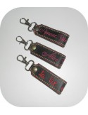 Instant download machine embroidery ith long keychain with round pompom