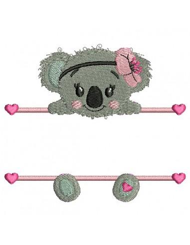 Motif de broderie machine koala  prénom fille