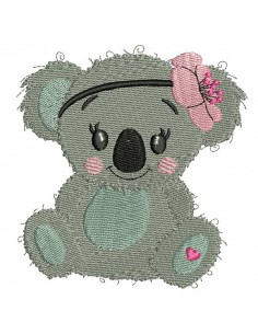 Instant download machine embroidery koala with heart