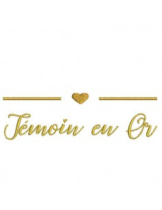Instant download machine embroidery gold wedding witness