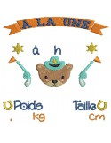 instant download machine embroidery design customizable birth journal boy  koala