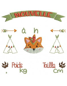 instant download machine embroidery design customizable birth journal  fox boho