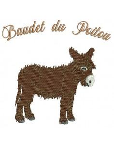 Motif de broderie machine âne du Poitou