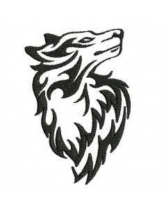 Motif de broderie machine  loup tribal tatoo