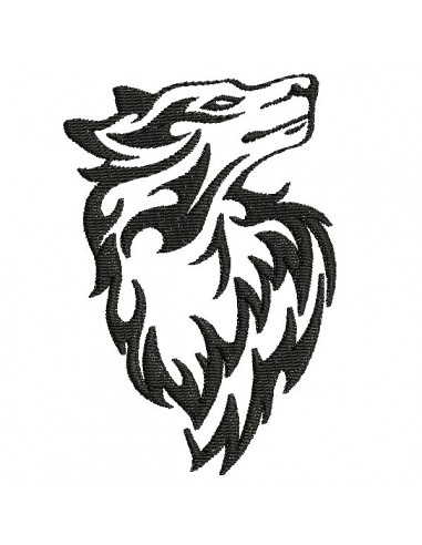 Embroidery design buffalo wolf  with feathers