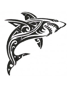 Instant download machine embroidery design shark tribal tattoo