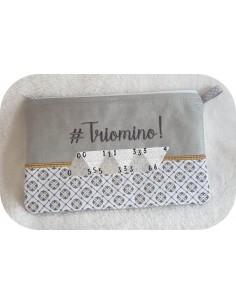 Instant download machine embroidery   ith zip purse Triomino