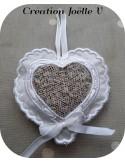 Motif de broderie machine  coeur festonné  à ruban pour lavande