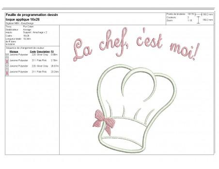 Instant download machine embroidery design applique toque chef